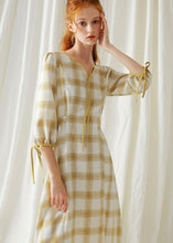 Load image into Gallery viewer, DIY yellow plaid cotton dresses high waist Plus Size fall Dresses