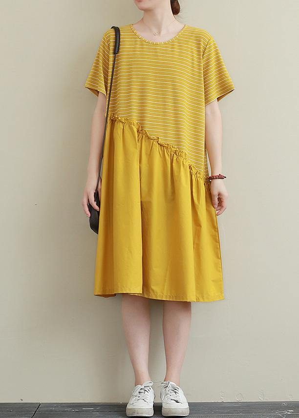 DIY yellow striped Cotton dress o neck patchwork tunic Dress