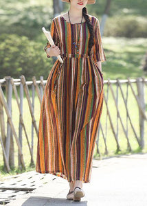 DIY yellow striped cotton linen dresses Fashion Inspiration o neck Half sleeve Plus Size Clothing Summer Dress