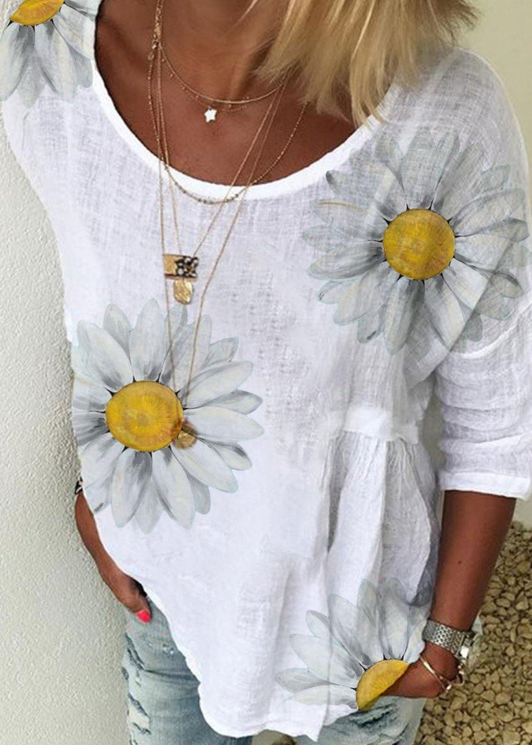 Daisy Print T Shirt Women Casual Tops Outfits