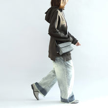 Load image into Gallery viewer, Dark gray oversized winter tops hoodies cotton outwear plus size