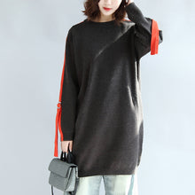 Load image into Gallery viewer, Dark gray plus size sweat dresses oversized casual shift dress