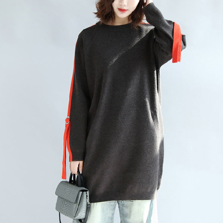 Dark gray plus size sweat dresses oversized casual shift dress