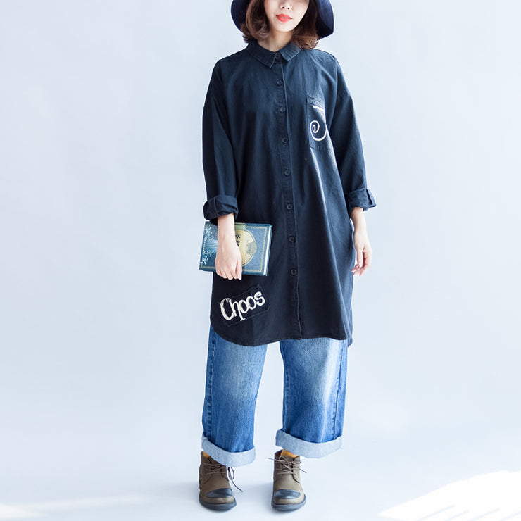 Days with rose black oversized cotton shirt dresses long cotton shift dress casual clothing