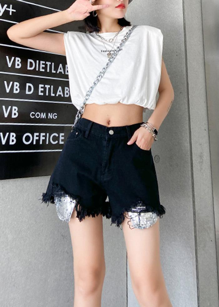 Denim black shorts women's thin section large size hole high waist pants