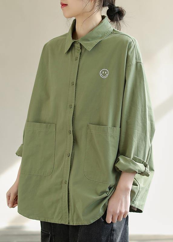 Diy Green Smiling Face Tunic Lapel Pockets Baggy Spring Shirts