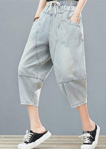 Drawstring personality pocket washed jeans plus size women's elasticated waist cropped pants