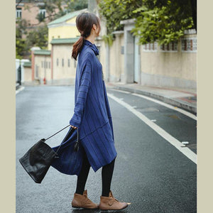 Elegant Blue High Neck Loose Fashion Sweater Dresses For Women