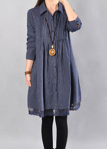 Elegant Cotton clothes For Women plus size Loose Cotton Printing Lace Hem Blue Dress