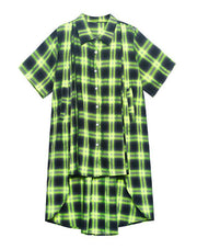 Elegant Green Plaid Cotton Buttonlow high design Summer Maxi Dresses