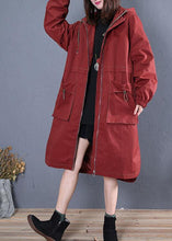 Load image into Gallery viewer, Elegant Loose fitting long jackets fall jacket red side open hooded Coat Women