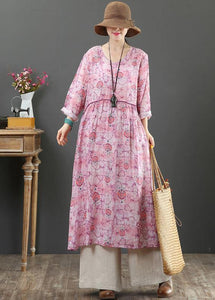 Elegant O Neck Cinched Spring Tunics Photography Pink Print Maxi Dresses