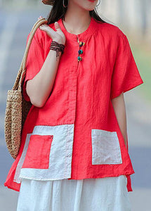 Elegant Red for women Omychic Cotton Literary Summer Cardigan Short Sleeve Shirt