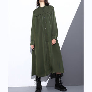 Elegant army green autumn silk cotton blended dress plus size stand collar silk cotton blended clothing dresses 2018 pockets wrinkled long dresses