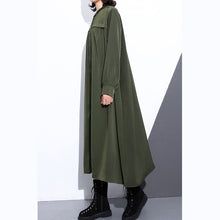 Load image into Gallery viewer, Elegant army green autumn silk cotton blended dress plus size stand collar silk cotton blended clothing dresses 2018 pockets wrinkled long dresses