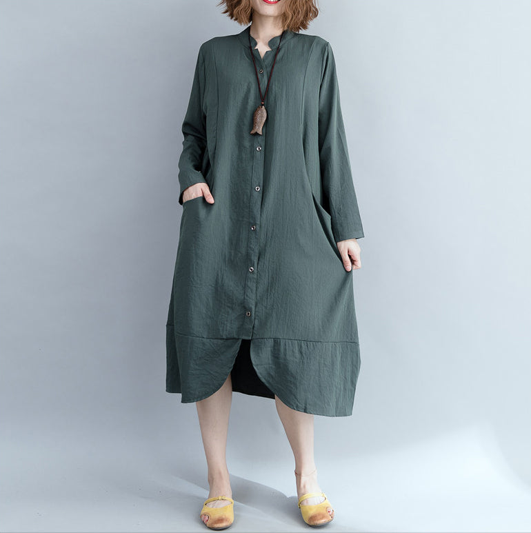 Elegant army green cotton linen dress Indian Sleeve stand collar shift Dress