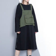 Load image into Gallery viewer, Elegant army green fall Loose fitting casual dress false two pieces 2018 O neck dress