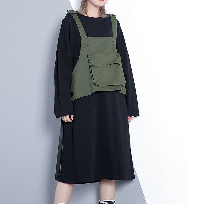 Elegant army green fall Loose fitting casual dress false two pieces 2018 O neck dress