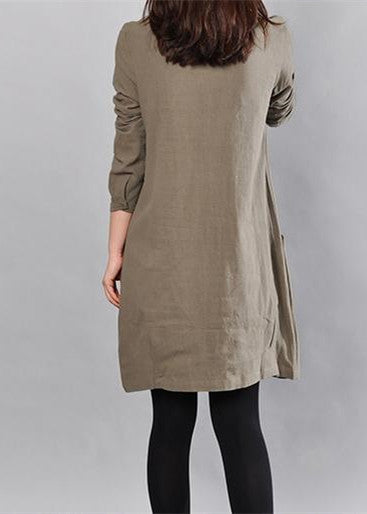 Elegant army green linen knee dress Loose fitting cotton shirt dresses vintage big pockets long sleeve cotton clothing dresses