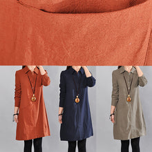 Load image into Gallery viewer, Elegant army green linen knee dress Loose fitting cotton shirt dresses vintage big pockets long sleeve cotton clothing dresses