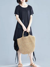 Load image into Gallery viewer, Elegant black Cotton clothes o neck asymmetric shift summer Dresses