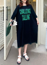 Load image into Gallery viewer, Elegant black Letter Wardrobes o neck baggy Maxi summer Dress