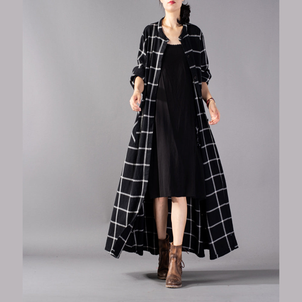 Elegant black Plaid maxi coat trendy plus size stand collar Winter boutique pockets coats
