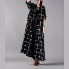 Load image into Gallery viewer, Elegant black Plaid maxi coat trendy plus size stand collar Winter boutique pockets coats
