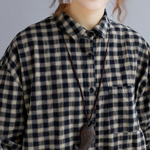 Elegant black Plaid natural cotton shirt dress trendy plus size Turn-down Collar pockets traveling clothing casual long sleeve baggy shirt dresses