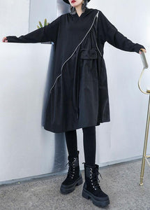 Elegant black cotton Wardrobes zippered long fall Dress