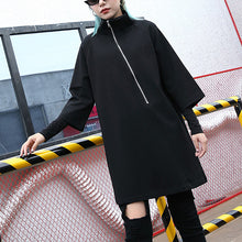 Load image into Gallery viewer, Elegant black cotton blended Midi-length t shirt oversized high neck t shirt 2018 zippered clothing t shirt