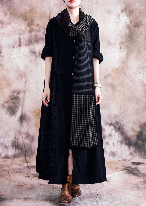 Elegant black cotton overcoat oversize trench coats fall linen outwear patchwork