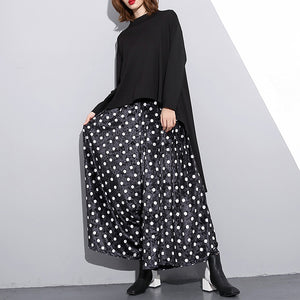 Elegant black dotted plus size clothing elastic waist traveling women wide leg pants cotton trousers