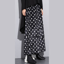 Load image into Gallery viewer, Elegant black dotted plus size clothing elastic waist traveling women wide leg pants cotton trousers