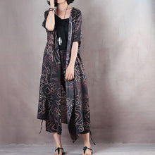 Load image into Gallery viewer, Elegant black natural linen dress plus size v neck floral linen clothing dress vintage half sleeve tie waist gown