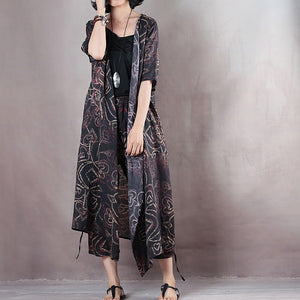 Elegant black natural linen dress plus size v neck floral linen clothing dress vintage half sleeve tie waist gown