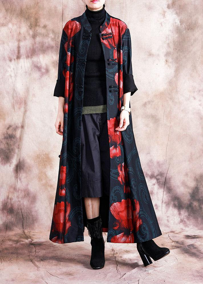 Elegant black patchwork red print oversize long Chinese Button fall coat