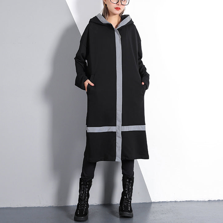 Elegant black plus size traveling dress pockets top quality hooded cotton blended dress