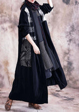 Load image into Gallery viewer, Elegant black print Coats plus size fall v neck patchwork coat
