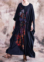 Load image into Gallery viewer, Elegant black print cotton dress o neck asymmetric fall Dress