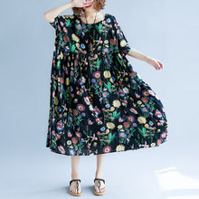 Load image into Gallery viewer, Elegant black print long cotton linen dress plus size short sleeve baggy dresses cotton linen maxi dress women o neck traveling dress