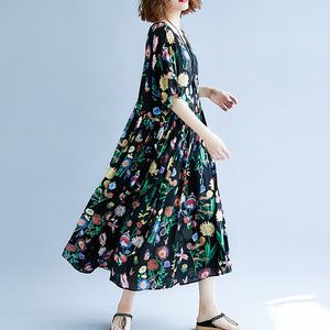 Elegant black print long cotton linen dress plus size short sleeve baggy dresses cotton linen maxi dress women o neck traveling dress