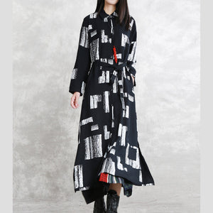 Elegant black print maxi coat oversize Turn-down Collar tie waist long coat vintage long sleeve pockets long coats
