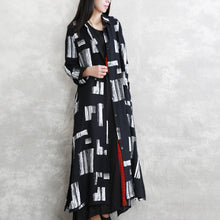 Load image into Gallery viewer, Elegant black print maxi coat oversize Turn-down Collar tie waist long coat vintage long sleeve pockets long coats