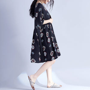 Elegant black prints Midi-length cotton dress casual traveling clothing New hig waist wrinkled batwing sleeve cotton clothing dress