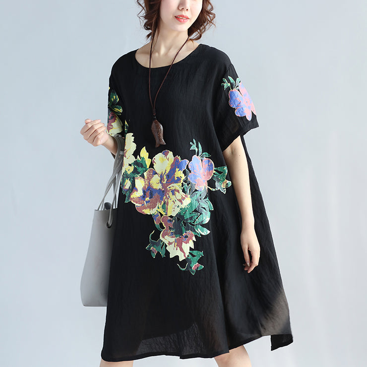 Elegant black prints pure linen dresses plus size clothing linen cotton dress vintage wild short sleeve o neck linen dress