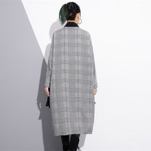 Load image into Gallery viewer, Elegant black white plaid cotton caftans plus size ruffles cotton clothing dress Fine lapel collar cotton caftans