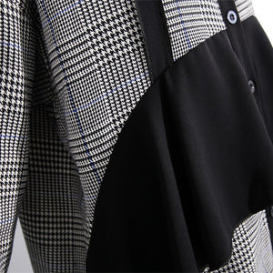 Elegant black white plaid cotton caftans plus size ruffles cotton clothing dress Fine lapel collar cotton caftans