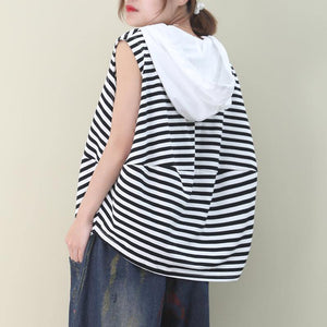 Elegant black white striped cotton top hooded sleeveless baggy blouse