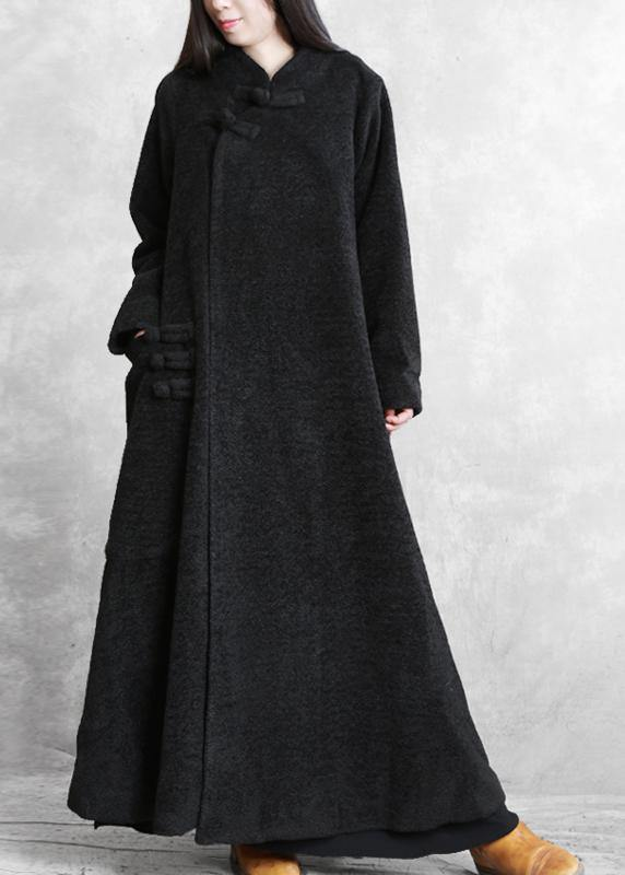 Elegant black woolen outwear plus size clothing stand collar asymmetric long coat